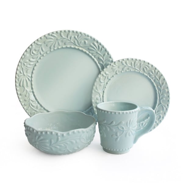 Bianca Blue Leaf Mist 16-piece Earthenware Dinnerware Set