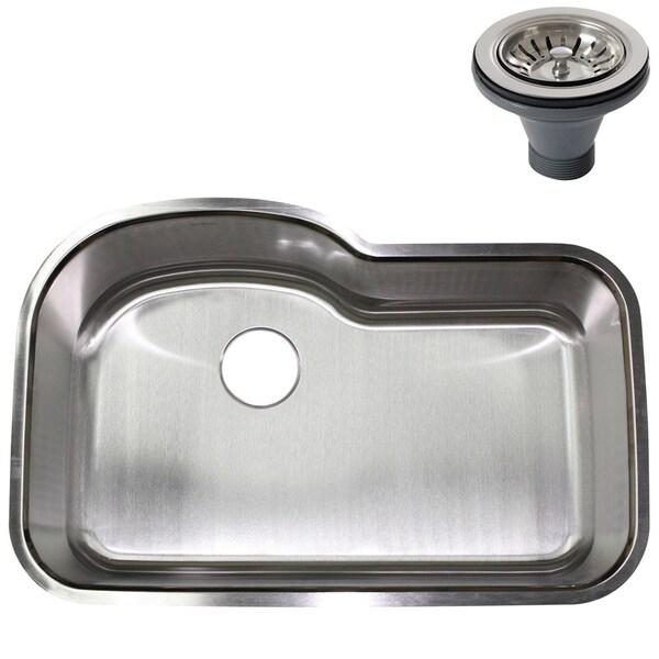 32-inch Stainless Steel 18 gauge Undermount Single Bowl Kitchen Sink with Deluxe Strainer