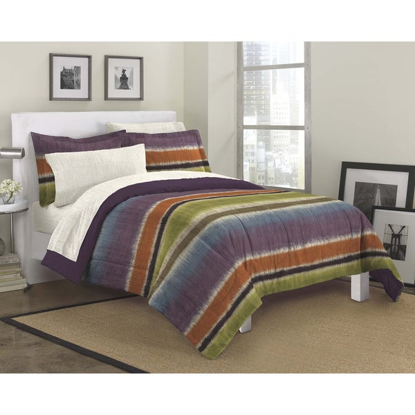 Texture Stripe 7-piece Bed in a Bag with Sheet Set