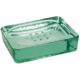 Recycled green glass soap dish 1 or set of 2 overstock for Green glass bath accessories