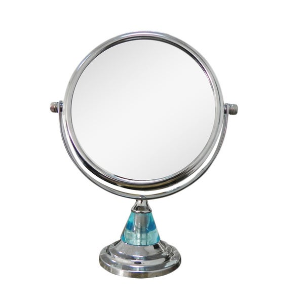 Free Standing Blue 5X Magnifying Makeup Mirror
