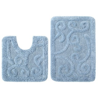 Celebration Scroll Spa Blue Cotton 2-piece Contour and Bath Rug Set
