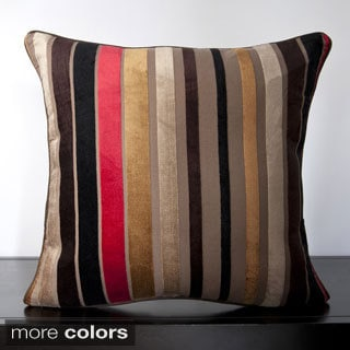 Striped Viscose 22-inch Decorative Feather or Poly Filled Throw Pillow