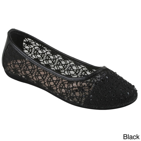 Bolaro Women's Fabric Mesh Slip-on Ballet Flats