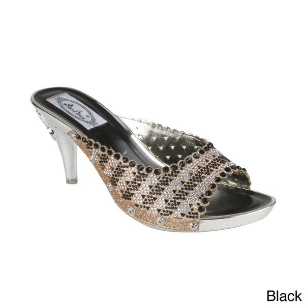 Italina Women's Rhinestone-studded Kitten Heel Slide Sandals