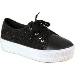 Women's Reneeze Ola-1 Glitter Platform Sneaker Black Synthetic