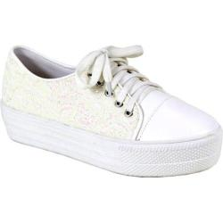 Women's Reneeze Ola-1 Glitter Platform Sneaker White Synthetic