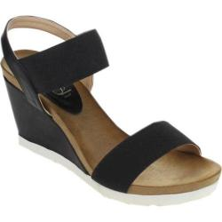 Women's Beston Fresh-01 Wedge Sandal Black Fabric