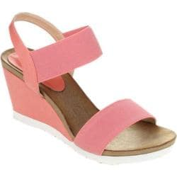 Women's Beston Fresh-01 Wedge Sandal Coral Fabric