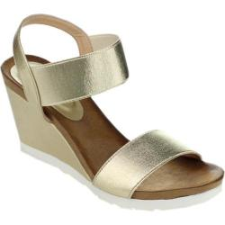 Women's Beston Fresh-01 Wedge Sandal Gold Fabric
