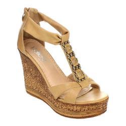 Women's Beston Grita-01 T-Strap Sandal Camel Faux Leather