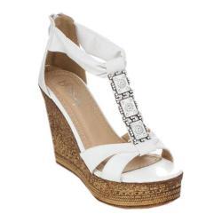 Women's Beston Grita-01 T-Strap Sandal White Faux Leather