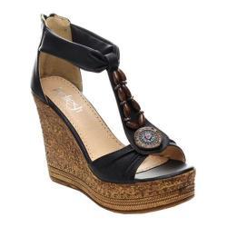 Women's Beston Grita-02 T-Strap Sandal Black Faux Leather