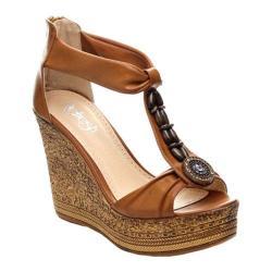 Women's Beston Grita-02 T-Strap Sandal Tan Faux Leather