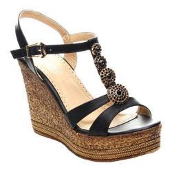 Women's Beston Grita-04 T-Strap Sandal Black Faux Leather