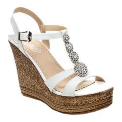 Women's Beston Grita-04 T-Strap Sandal White Faux Leather