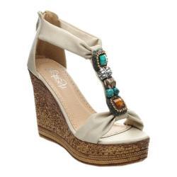 Women's Beston Grita-05 T-Strap Sandal Beige Faux Leather