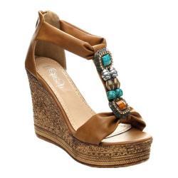 Women's Beston Grita-05 T-Strap Sandal Tan Faux Leather