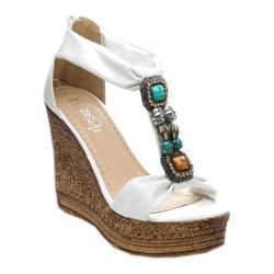 Women's Beston Grita-05 T-Strap Sandal White Faux Leather