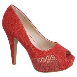 Women's Beston HY-7 Open Toe Pump Red Fabric/Faux Leather