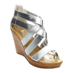 Women's Beston Jucy-01 Strappy Wedge Sandal Silver Fabric