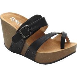 Women's Beston Mara-01 Wedge Sandal Black Faux Leather