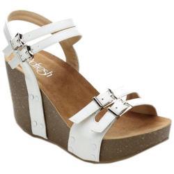 Women's Beston Mara-02 Wedge Sandal White Faux Leather