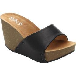 Women's Beston Mara-03 Wedge Slide Black Faux Leather