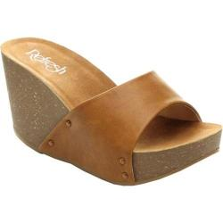 Women's Beston Mara-03 Wedge Slide Tan Faux Leather