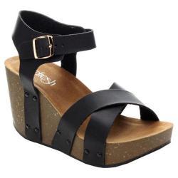 Women's Beston Mara-05 Ankle Strap Sandal Black Faux Leather