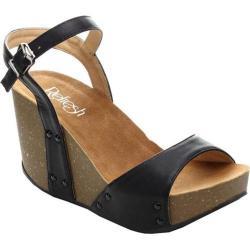 Women's Beston Mara-06 Ankle Strap Sandal Black Faux Leather