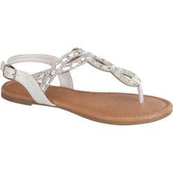Women's Beston Mute-15 T-Strap Sandal White Faux Leather