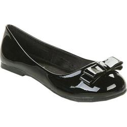 Girls' Beston Rosa Bow Ballet Flat Black Faux Leather
