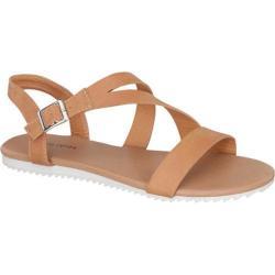 Women's Beston Vince-18 Strappy Sandal Tan Faux Leather