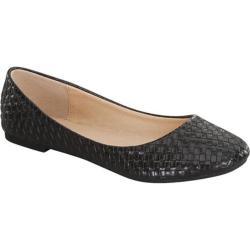 Women's Beston Waltz-8 Woven Ballet Flat Black Faux Leather