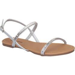 Women's Beston YT-45 Slingback Sandal Silver Faux Leather