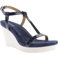 Women's Calvin Klein Jiselle Wedge Sandal Navy Patent