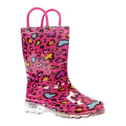 Girls' Western Chief Cutie Leopard Lighted Rain Boot Pink