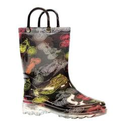 Boys' Western Chief Motorsports Lighted Rain Boot Black