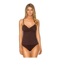 Women's Sunsets Shirred Tankini with Removable Cups Dark Chocolate