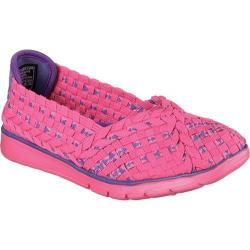 Girls' Skechers BOBS Pureflex Stretchy Flex Flat Hot Pink/Purple