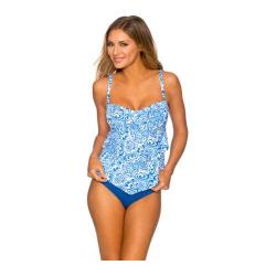 Women's Sunsets Underwire Bandeau Tankini with Foam Bra Blue Grotto