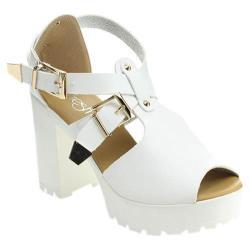 Women's Beston Gaga-04 Chunky Sandal White Faux Leather