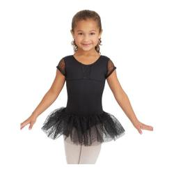 Girls' Capezio Dance Cap Sleeve Tutu Dress Black Swirly