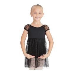 Girls' Capezio Dance Empire Puff Sleeve Dress Black Swirly