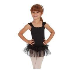 Girls' Capezio Dance Ruched Strap Dress Black Swirly