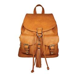 La Diva Tan Leather Flapover Drawstring Backpack