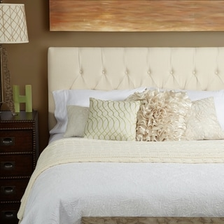 Humble + Haute Hampton Ivory Linen Full Diamond Tufted Upholstered Headboard