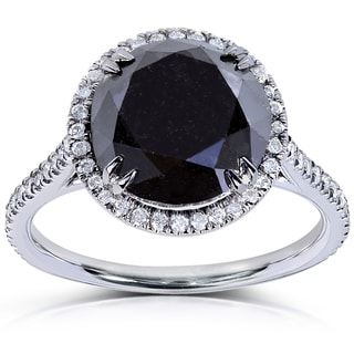 Annello 14k White Gold 6 1/10ct TDW Black and White Diamond Halo Ring (H-I, I1-I2)