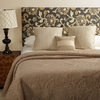 Humble + Haute Hampton Grey Floral Full Diamond Tufted Upholstered Headboard